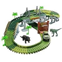 TONZE Pista Macchinine Elettriche Auto Veicoli con Dinosauro Pista Flessibile Giocattoli per Bambini 3 4 5 Anni