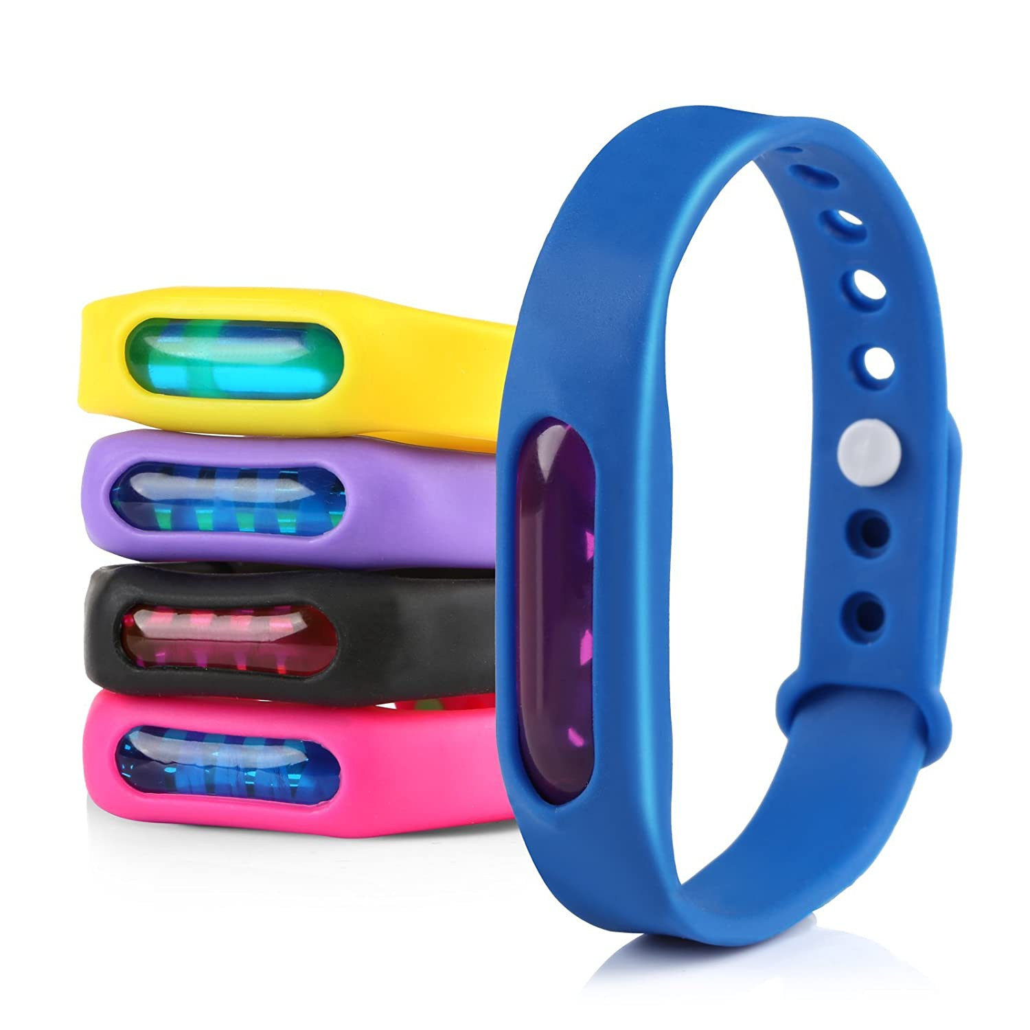 GWHOLE 5 Pack Mosquito Repellent Bracelets Waterproof Travel Insect Repellent All Natural DEET Free Anti Insect Bands