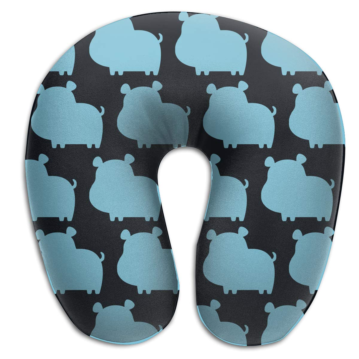 Camp Ursula Happy Animal Blue Hippo Soft Memory Foam Neck Support Travel Pillow