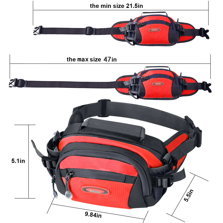 Y&R Direct Fanny Pack Waist Bag Packs Large Running Belt Bum Purse Bags with Bottle Holder Extension Strap Women Men Boy Girls Kids Gifts Waterproof Multicolor Outdoor Walking Hiking (Red)