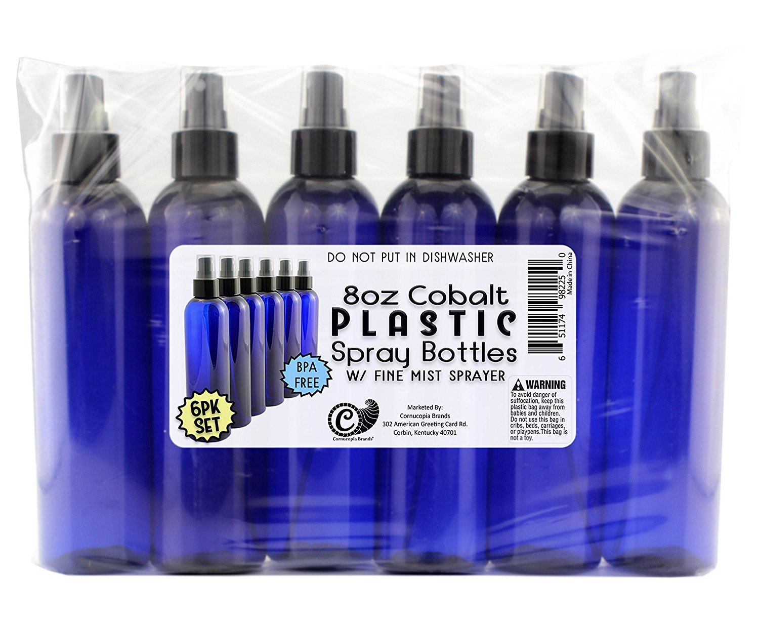 8oz Cobalt Blue Plastic PET Spray Bottles w/Fine Mist Atomizers (6-pack); for DIY Home Cleaning, Aromatherapy, Beauty Care by Cornucopia Brands (Image #7)