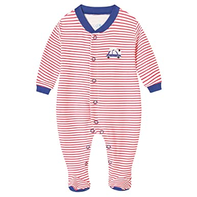 09100635a Amazon.com  Schmoopy Baby Boy Striped Footed Pajamas Sleeper 0-6 ...