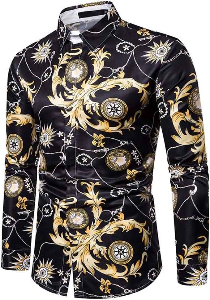 Ydshyth - Camisa de manga larga con estampado de oro para ...