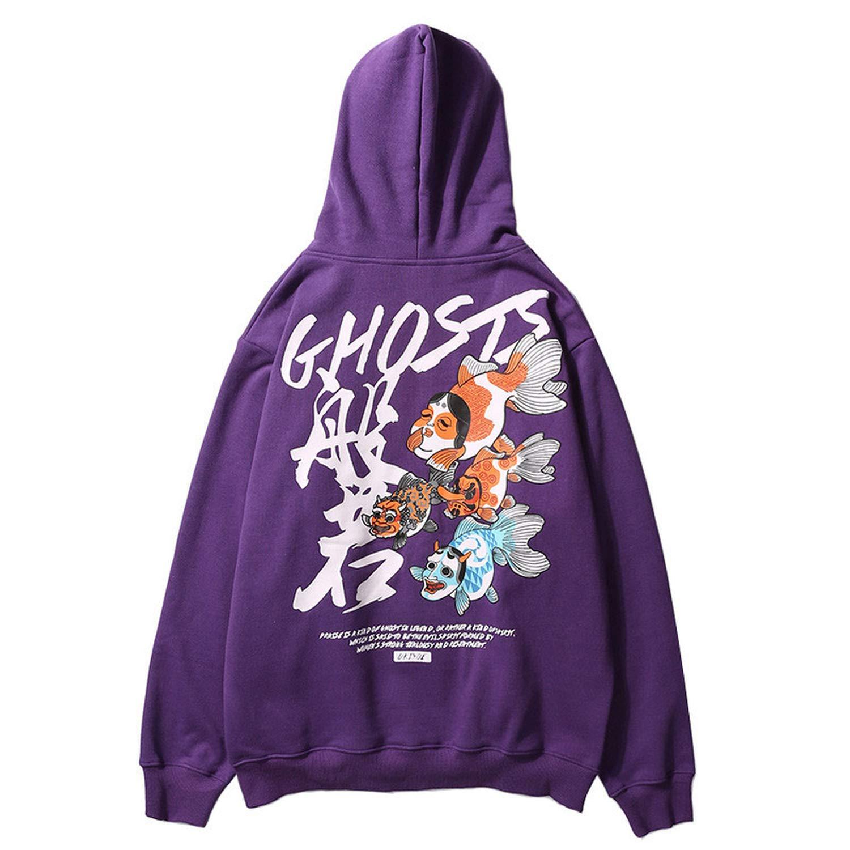 Amazon.com: Hip Hop Mens Hoodie Sweatshirt Japanese Ukiyo E Ghost Fish Print Streetwear: Clothing
