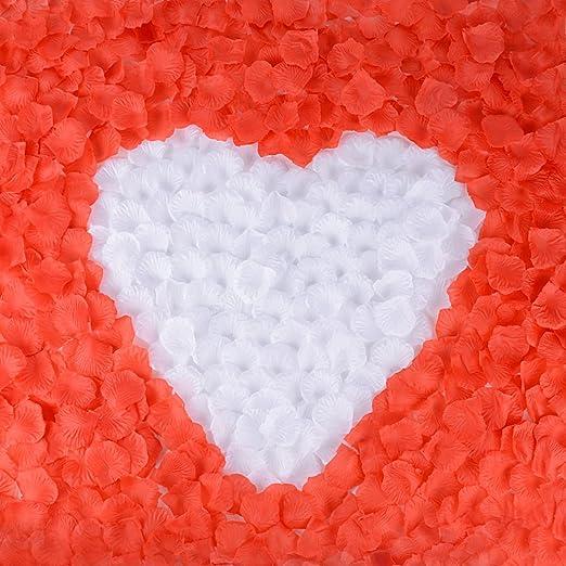 18 opinioni per 2000 pz Petali Fiori di Rosa Rosso Bianco Artificiale Confetti Decor per Vetrine