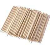Hotop 200 Packs Wood Sticks, Double Sided Nail Art Multifunctional Cuticle Pusher Remover Manicure Pedicure Tool