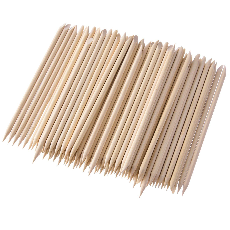 200 paquetes de incienso de madera, doble cara Nail Art multifuncional eliminador de cutículas Manicura Pedicura Herramienta Hotop