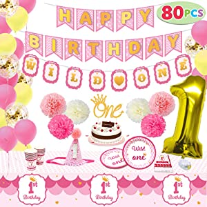 1st Girl Birthday Supplies Decoration Wild Set (Happy Banners, Hat, Foil Balloon Confetti Balloon, Cake Topper, Plates, Cups, Napkins, Tableware, Pom-poms Balls) for One Baby First Bday Party.
