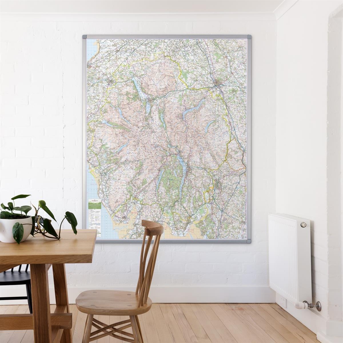 Lake District Dark wood frame UK National Park Wall Map