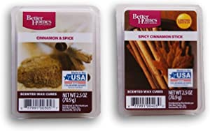 Better Homes and Gardens Holiday Themed Scented Wax Cubes Bundle - Spicy Cinnamon Stick and Cinnamon & Spice