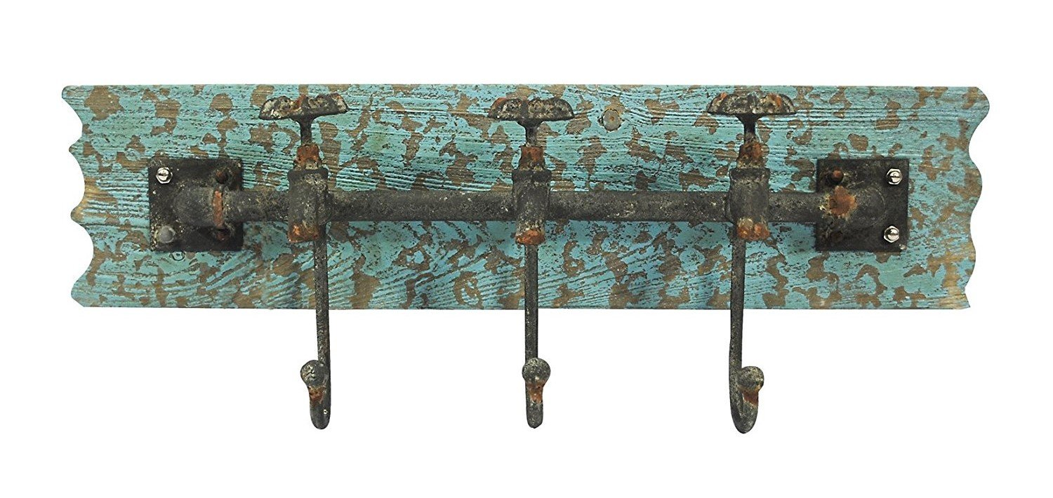ACCENTHOME Vintage Iron Wall Hooks Antique Finish Metal Clothes Bath Tower Hanger Turquoise