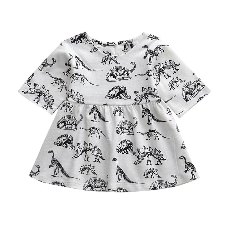 HLHN Baby Girls Dresses, Cartoon Dinosaur Print Cute Sun Outfits Toddler Infant