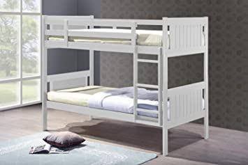 Humza Amani Glory White 3ft Single Wooden Bunk Bed With Underbed