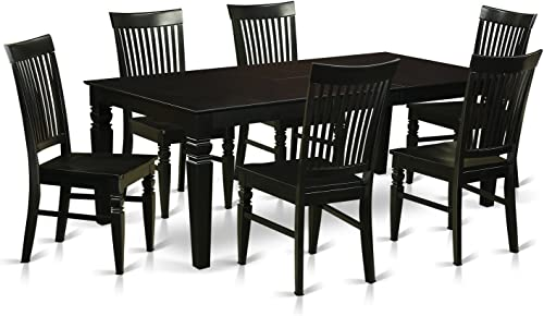 LGWE7-BLK-W 7 Pc Kitchen table set with a Dining Table and 6 Wood Kitchen Chairs in Black