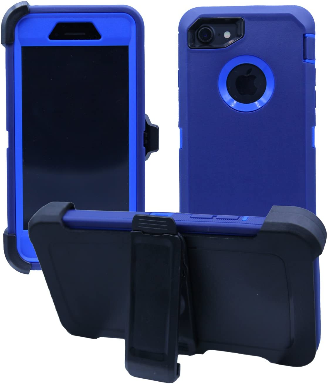 iPhone 7 / iPhone 8 Cover | 2-in-1 Screen Protector & Holster Case | Full Body Military Grade Edge-to-Edge Protection with carrying belt clip | Drop Proof Shockproof Dustproof | Navy Blue / Blue