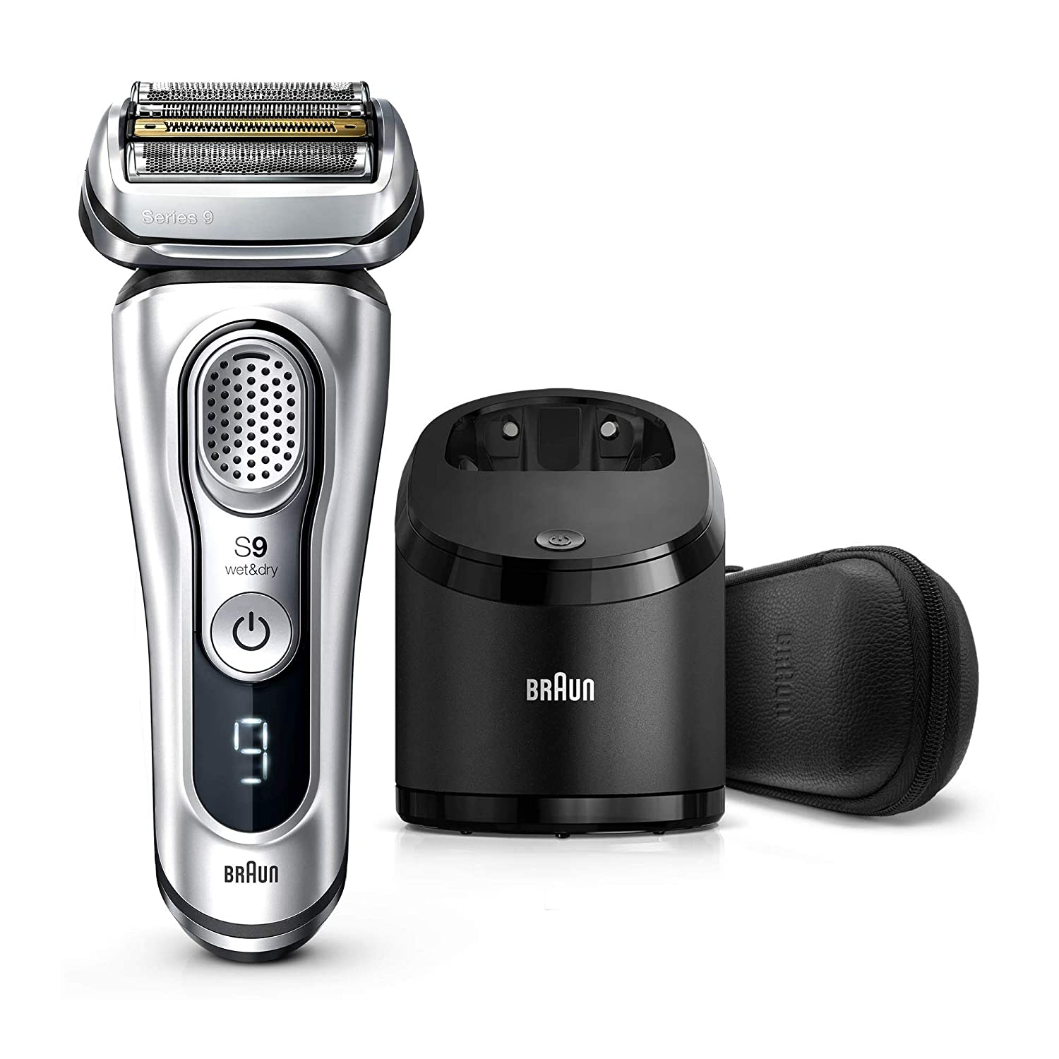 Braun Series 9 9390cc Latest Generation Electric Shaver, Rechargeable & Cordless Electric Razor for Men - Clean&Charge Station, Leather Travel Case