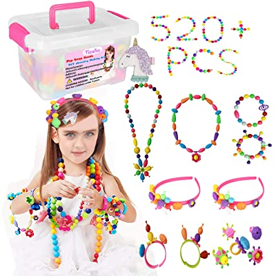 Yizafus Pop Beads for Kids Girls 520PCS, Creative DIY Jewelry Making Kit for Making Bracelet, Ring and Necklace, Ideal Birthday for 3,4,5,6,7,8 Years Old Girls (A): Toys & Games