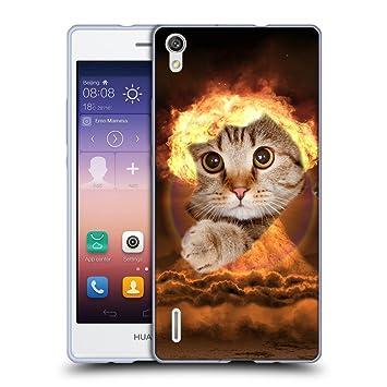 Grand Phone Cases TPU Gel Funda Carcasa Tapa Case Cover para // Q05670643 Agujero Papel Gato Hongo Explosivo // Huawei Ascend P7: Amazon.es: Electrónica