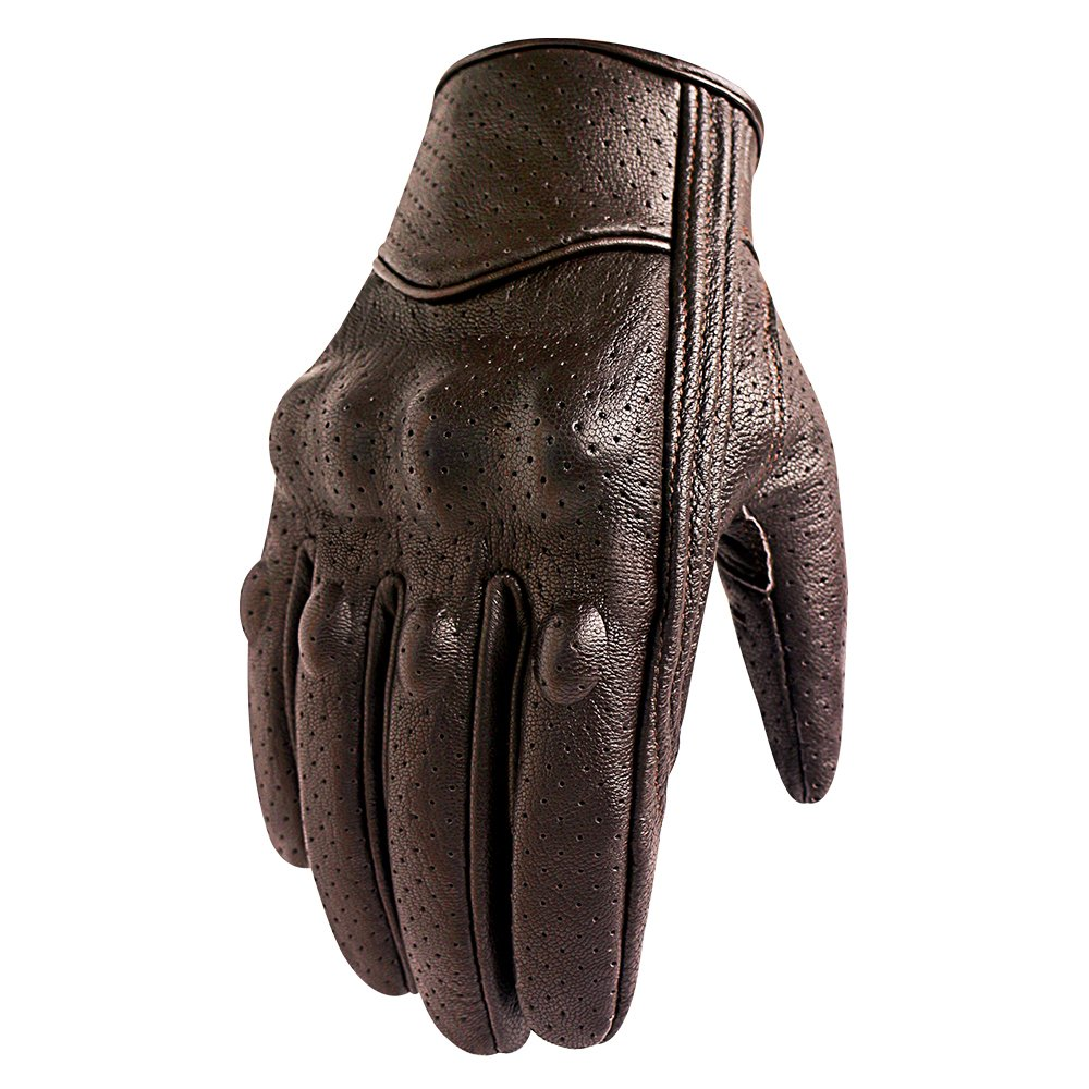 Men's Brown Motorcycle Gloves Full Finger Genuine Goatskin Leather Street Bike Gloves With Touchscreen Finger(Brown,Perforated,M) by Superbike (Image #3)