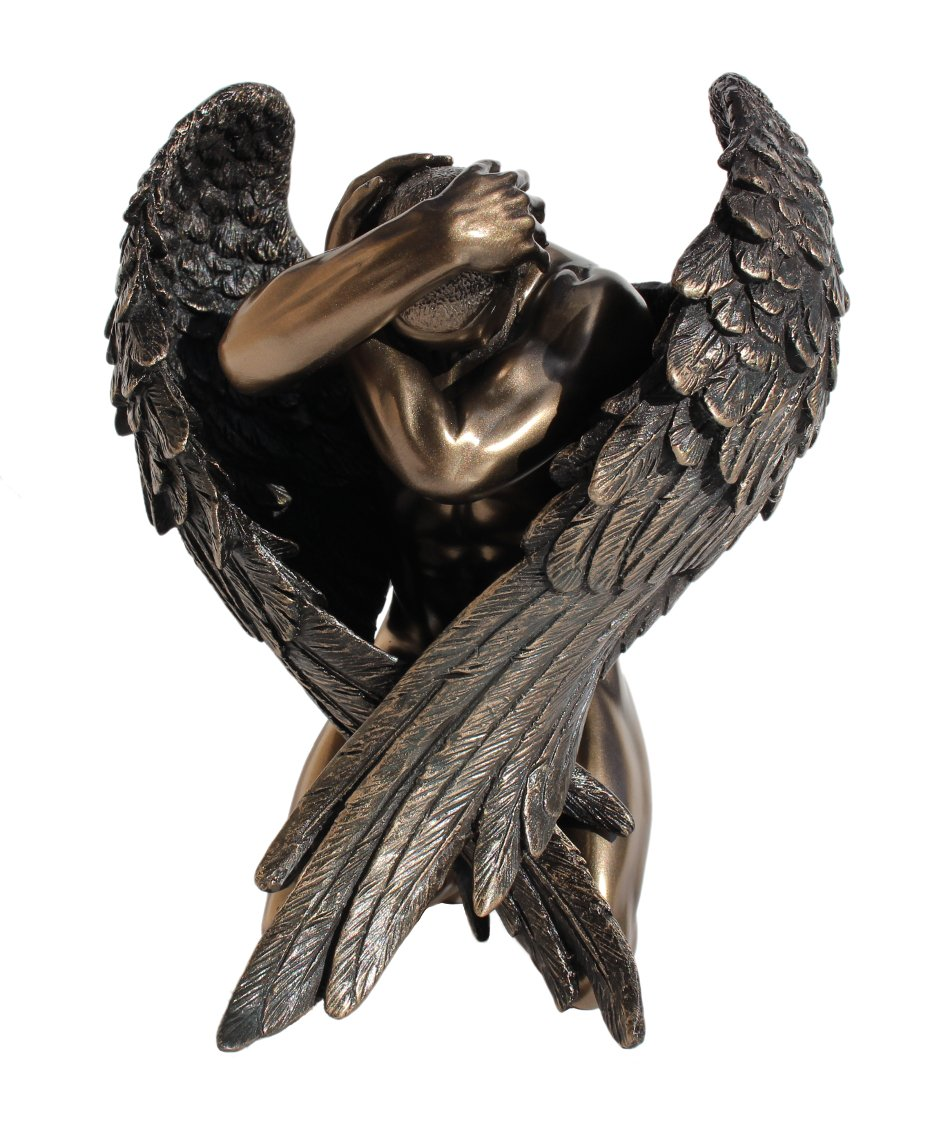 Winged Nude Male Kneeling Statue Figurine Cold Casting with Bronze Powder and Resin