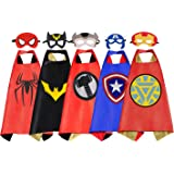 RioRand Dress Up Costumes Cartoon Kids 5 Superhero Capes Set for Boys Girls Birthday Party Gifts