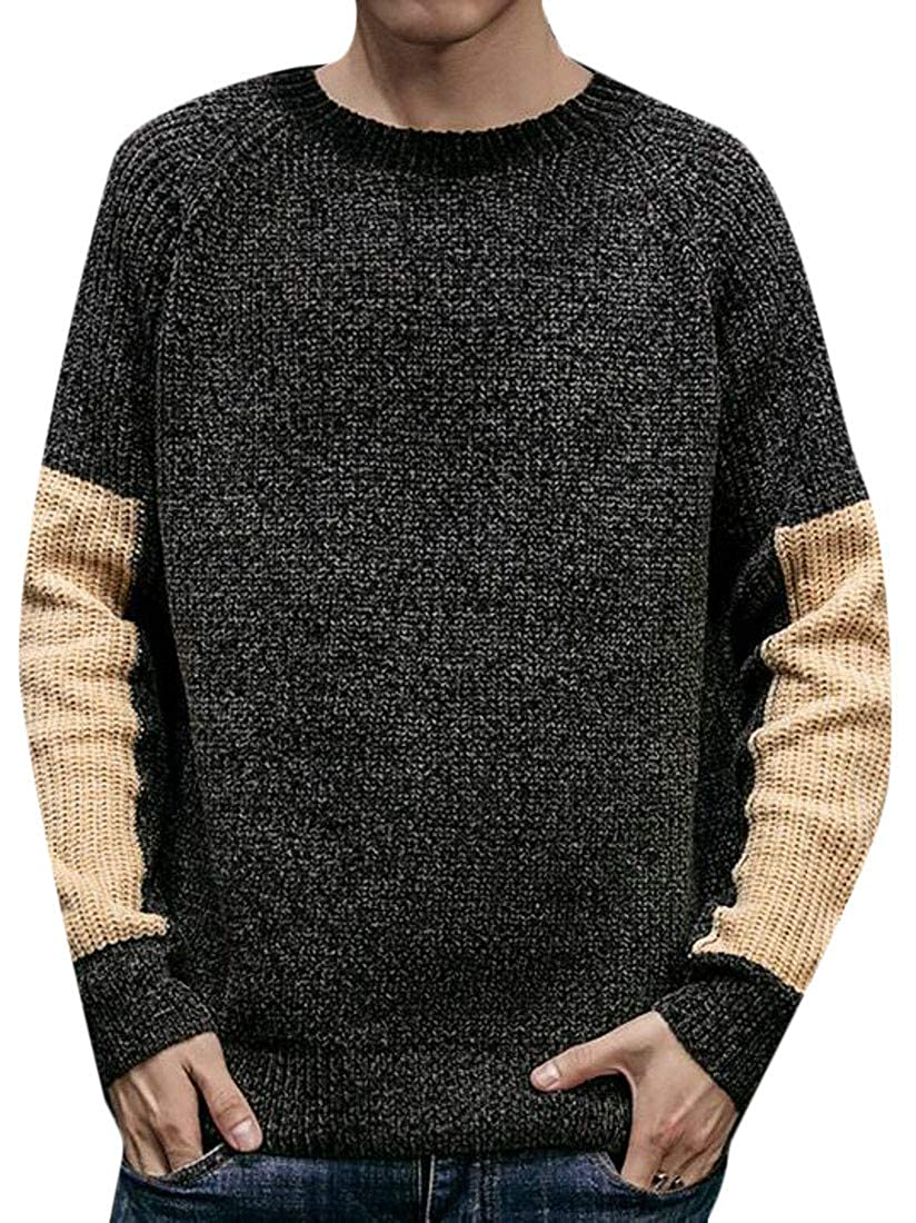 XiaoTianXinMen XTX Mens Fashion Crewneck Contrast Color Raglan Sleeve Knitted Pullover Jumper Sweater