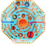 Nine Planets Labyrinth,YIFAN Magnets Puzzle Maze Kids Wooden Toy Nine Planets Magnetic Labyrinth Fun Games