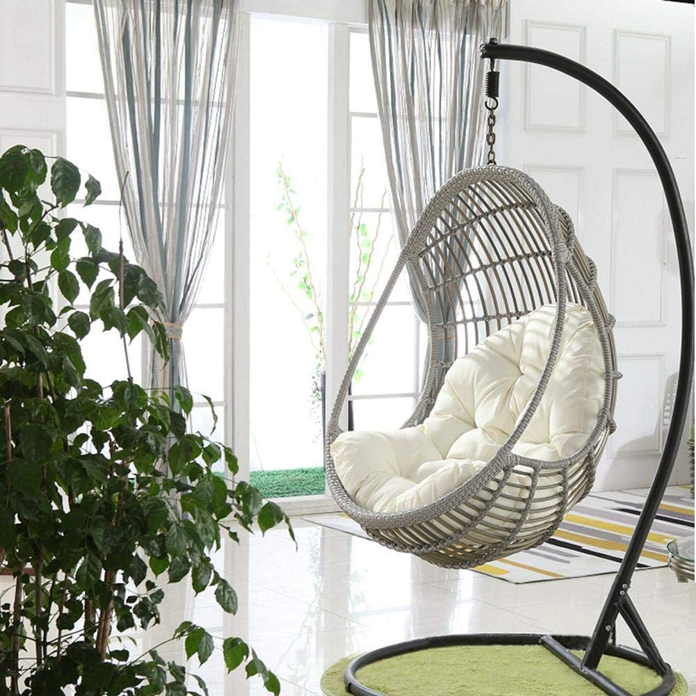 MWPO Hammock Swing Chair, Relaxing Outdoor Garden Seat, 2 Soft Padded Cushions, Indoor, Outdoor, Cotton Canvas Swing Seat for Yard Porch Patio