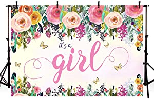MEHOFOND Girl Butterfly Baby Shower Backdrop Party Decoration Pink Floral Flower Butterfly Fairy Princess Baby Shower Spring Garden Party Photography Background Banner Photo Studio Props Vinyl 7x5ft