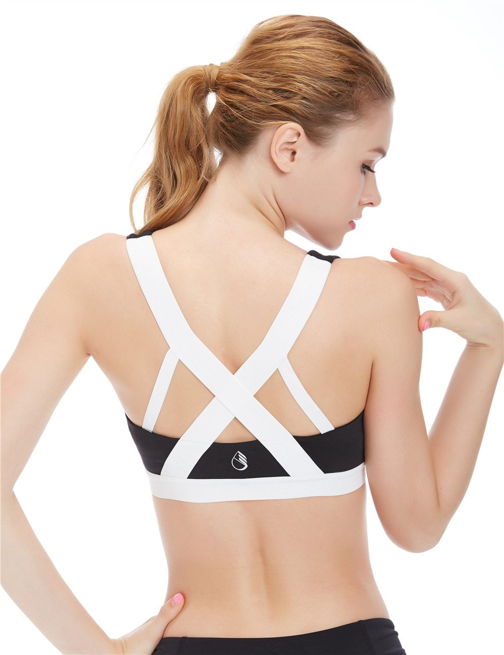 icyzone Women's Activewear Fitness Moving Comfortbal Racerback Sports Bras (XL, White Cross Back)