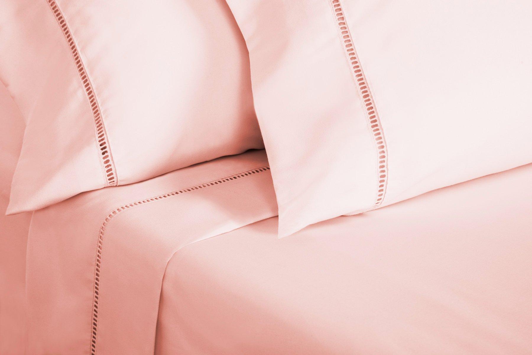 Grace Premium Microfiber Sheet Set - Super Soft, Deep Pocket, Embellished with Hypoallergenic, Wrinkle Resistant and Fade Resistant Brushed Microfiber – 4 Piece Set (Full, Pink) by ViscoSoft (Image #2)
