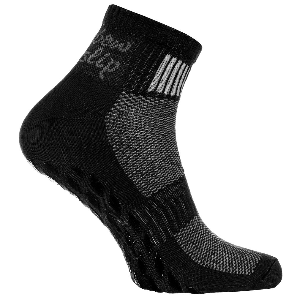 2,4,or 6 pairs of Black Non-slip Socks, ABS system, ideal for Athletes: Yoga, Fitness, Pilates, Martial Arts, Dancing, Gymnastics, Trampolines, sizes from 4 to 11,5, Breathable Cotton, High Quality