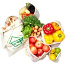 Reusable produce bags for fruit and vegetable storage – made of natural cotton – no plastic – shopper mesh SET of 6 – 1x S, 2x M, 2x L, 1x bread bag