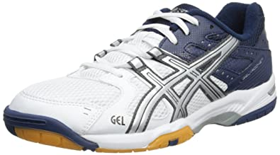 Asics Gel-rocket M, Chaussures Multisport Indoor Homme - Blanc (white/lightning/dark Blue), 45.5 EU