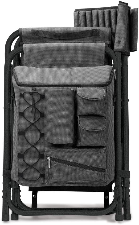 a Picnic Time brand Cornell Big Red Dark Gray with Red Accents Fusion Backpack Chair with Cooler, ONIVA