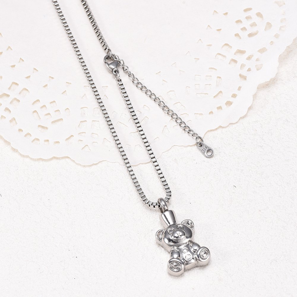 Teddy Bear Stainless steel Cremation Ashes Jewelry Pet Urn Ashes Pendant Ash Keepsake Necklace