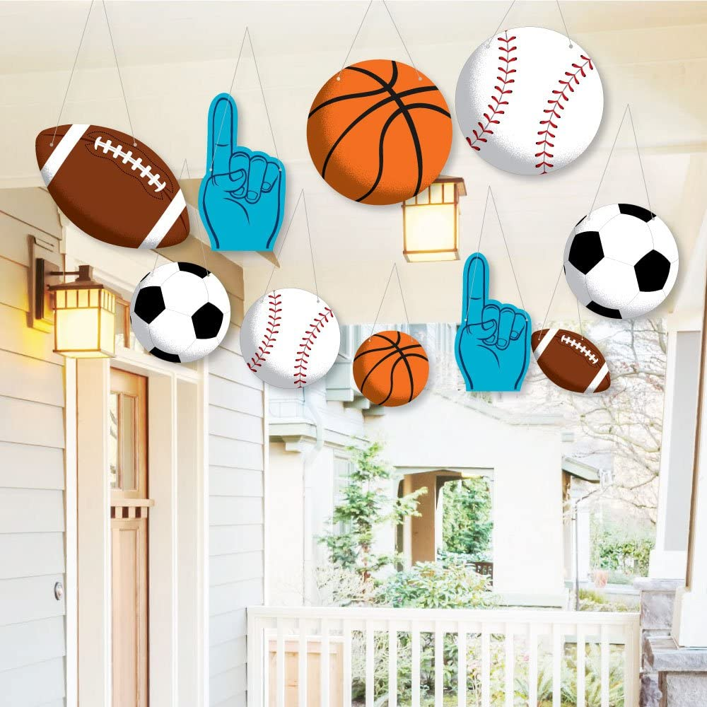 Hanging Go, Fight, Win - Sports - Outdoor Hanging Decor - Baby Shower or Birthday Party Decorations - 10 Pieces