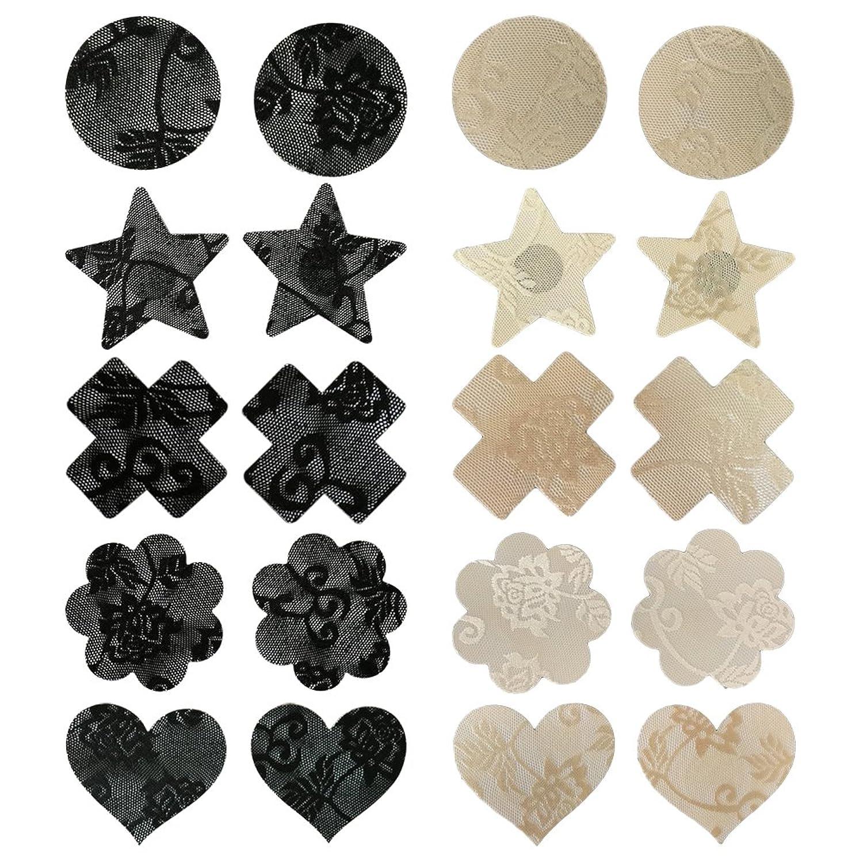c6dab29c1b557 LUOEM Pasties Bra Disposable Sexy Flower Pasties Self Adhesive Stickers Nipple  Cover Stickers 10 Pairs (