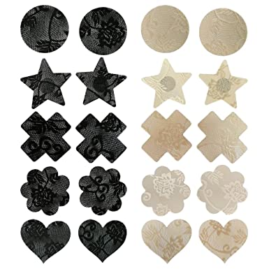 986af621ac9c4 LUOEM Pasties Bra Disposable Sexy Flower Pasties Self Adhesive Stickers  Nipple Cover Stickers 10 Pairs (Black