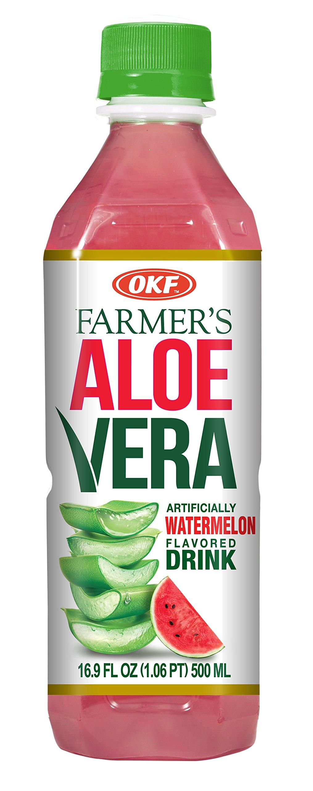 OKF Farmer's Aloe Vera Drink, Watermelon, 16.9 Fluid Ounce (Pack of 12)