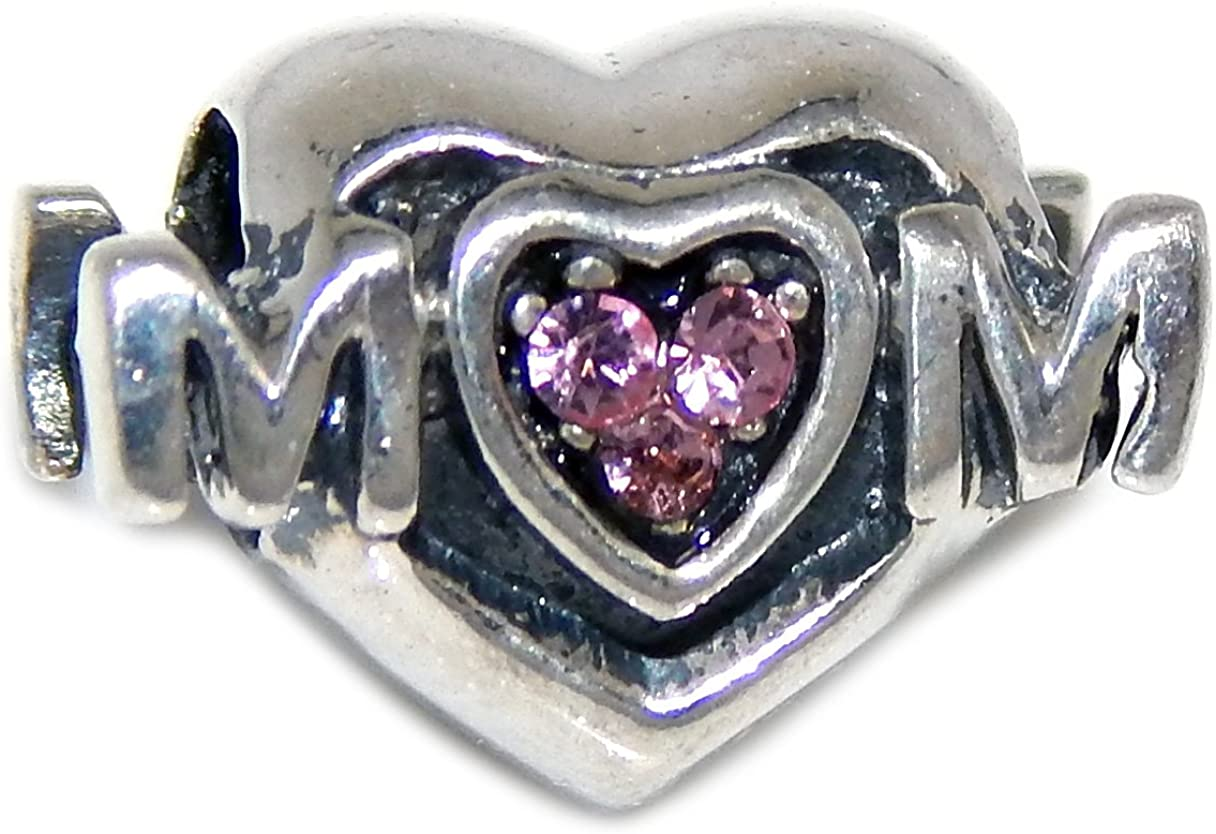 Pink Solid 925 Sterling Silver Mom Heart with Crystals Charm Bead
