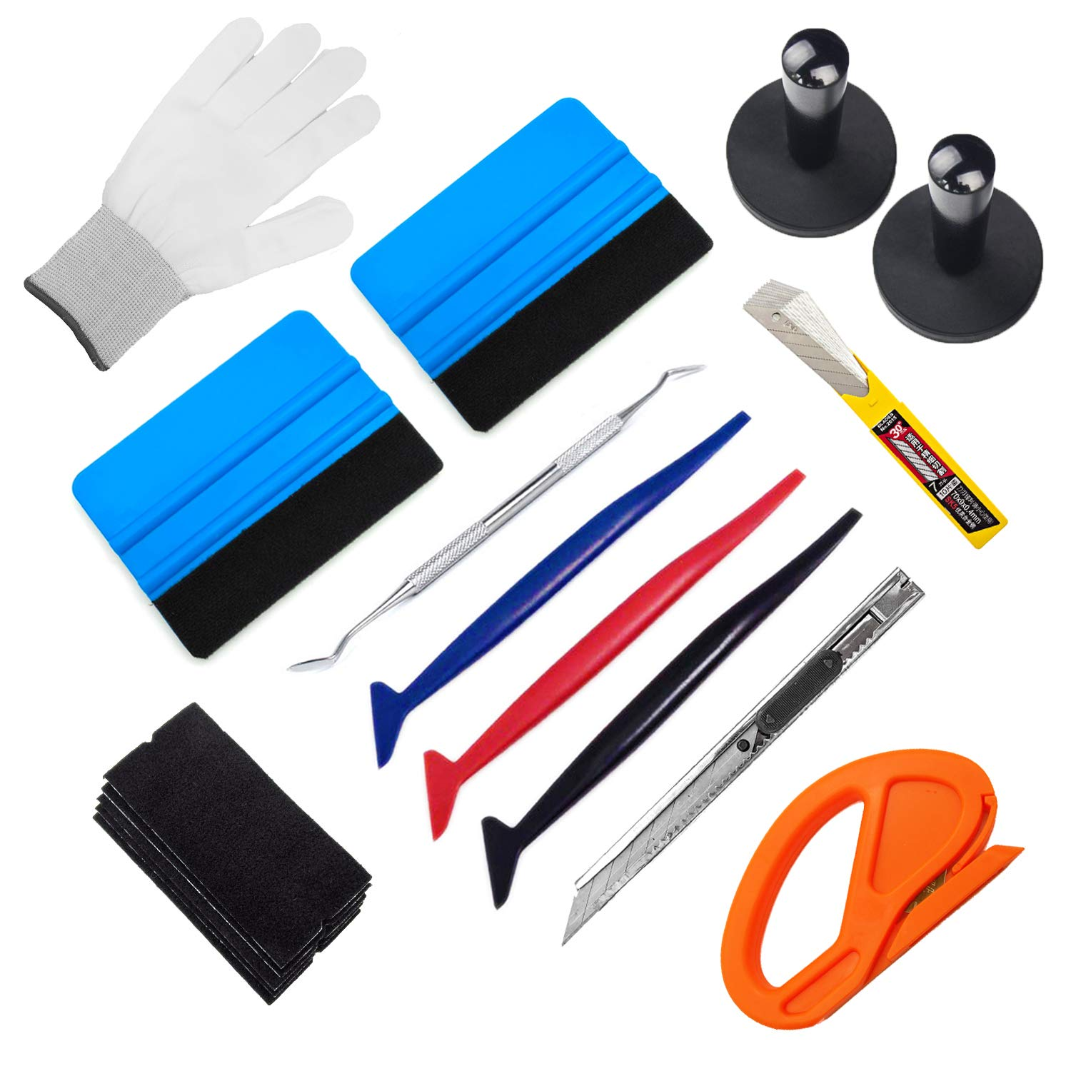 CARTINTS GUGUGI Auto Window Tint Film Tool Kit Vinyl Wrap Application Kit Include Felt Squeegee, Fabric Felts, Micro Squeegee, Vinyl Magnet Holders, Working Gloves, Cutter Knife, Utility Knife Blades