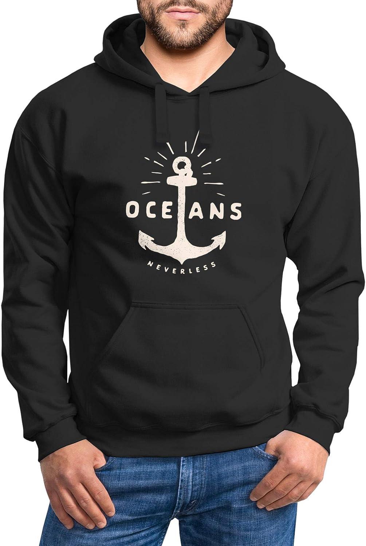 Neverless® Hoodie Herren Anker Motiv maritim Schriftzug Oceans Kapuzen-Pullover Männer Oceans Anker Schwarz