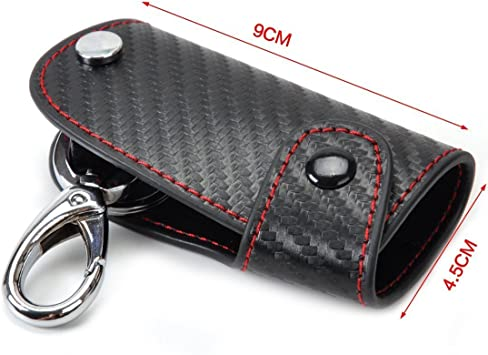 3D Leather Carbon Fiber Remote Key Case chain keyless Fob Shell cover Holder