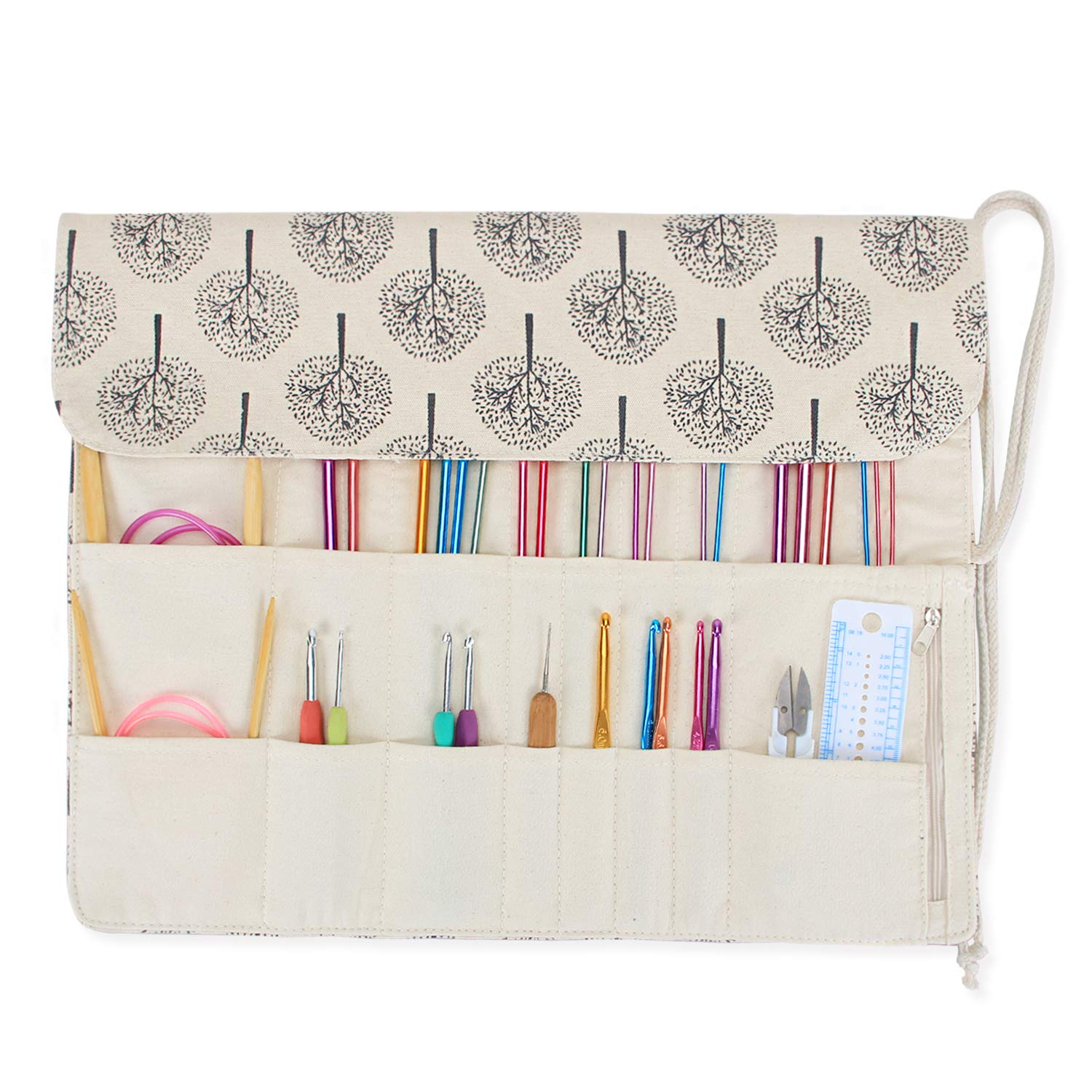 Teamoy Tunisian Crochet Hook Organizer Bag(up to 14 Inches), Cotton Canvas Roll Wrap for Afghan Crochet Hooks, Knitting Needles and Accessories, Tree by Teamoy (Image #6)