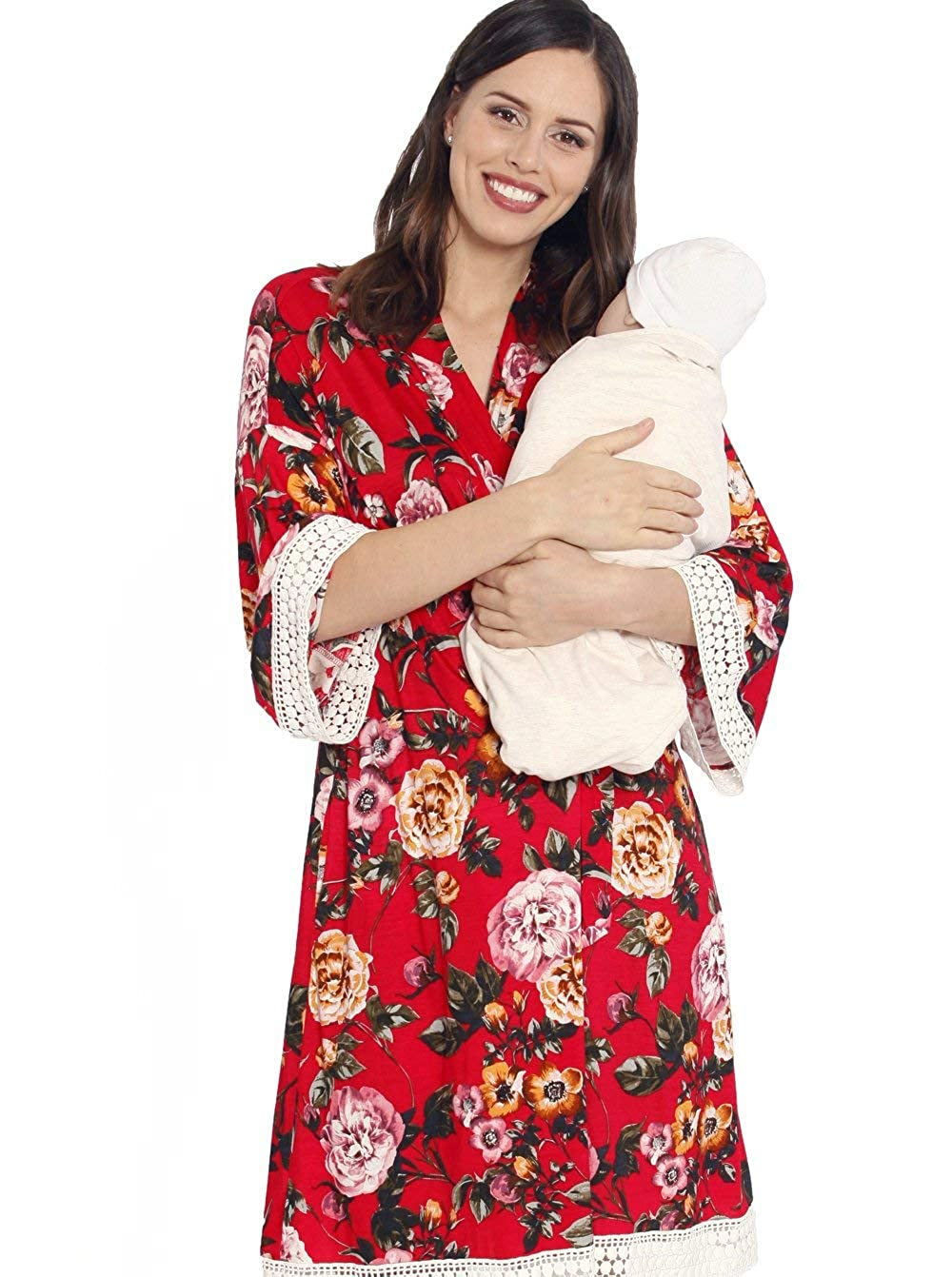 7dbbf931b64cc Angel Maternity 3 in 1 Birth Kit: Hospital Gown + Maternity Gown, Nursing  Dress and Baby Blanket Labor Kit - Red Floral - L at Amazon Women's Clothing  store ...
