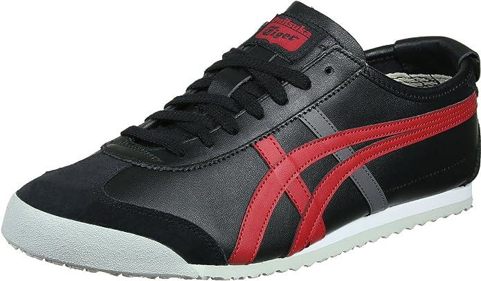 Asics Mexico 66 Sneakers Damen Herren Unisex Größe 36 – 48 Schwarz/Rot (Black/True Red)