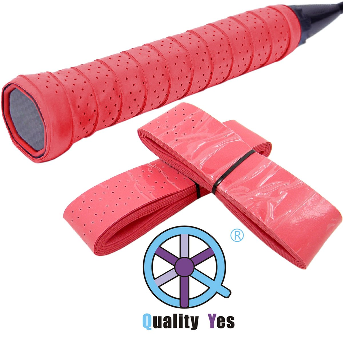 Quality Yes QY 2PCS Widened Perforated Super Absorbent Tennis Racket Overgrip Anti Slip Badminton Racket Tape Wrap Table Tennis Racket Tape, Red Color