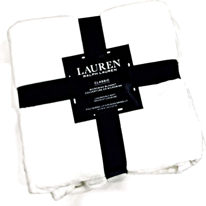 Ralph Lauren Luxury Full/Queen Micromink Monogram Bed Blanket | Snow White | Luxuriously Soft