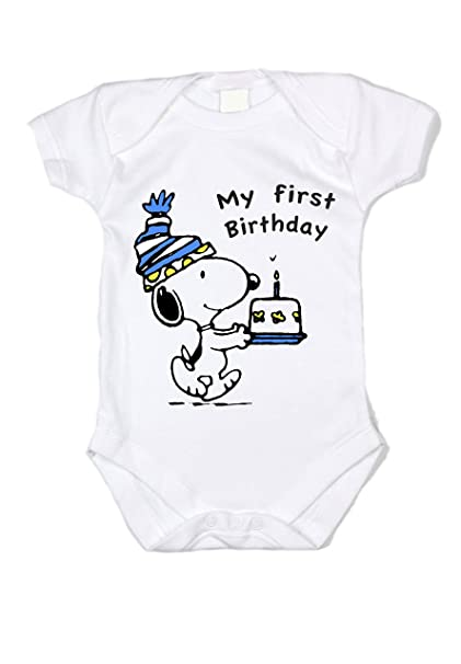 "030a258b4 Peanuts Snoopy Birthday ""My first Birthday"" BLUE Unisex Baby  Bodysuit ..."